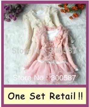 New hot new One set retail 2013 Girls 2pcs Clothing Set coat+Tutu Cake Dress childrens outfits,free shipping