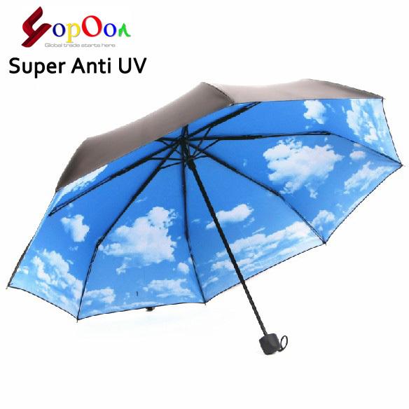 The Super Anti-uv Sun Protection Umbrella Blue Sky 3 Folding Gift Parasols Rain Umbrellas For Women Men Free Shipping(China (Mainland))