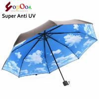 The Super Anti-uv Sun Protection Umbrella Blue Sky 3 Folding Gift Parasols Rain Umbrellas For Women Men Free Shipping