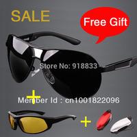 2014 High Quality Men's Brand Designer Polarized Sunglasses Men Driving Glasses Night Eyewear NVG Luxury Box Gift for New Year