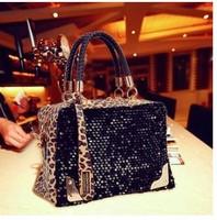 Hot Casual Fashion Women Handbags Leopard Print Paillette Casual Bag Shoulder Bags Messenger Bags And Dropship