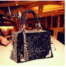Fashion Women Handbags Leopard Print Paillette Casual Bag Shoulder Bags Messenger Bags And Dropship(China (Mainland))