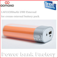Retail ! Hot selling L401 without package and cable  Ice cream external battery pack with led flashlights and 5200MAH power bank