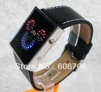 Alibaba express hot selling,Fashion Casual Watch,Red LED Sector Pattern bracelets Wrist Watch,with Jerry Band,Unisex