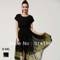 Hot!! 2014 Free Shippimg Summer Black Dress High Quality Chiffion Lady Dress Black S,M,L,XL,XXL Fashion Design Dress lmds8021