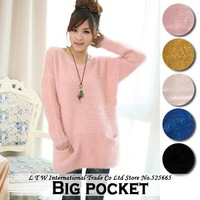 Sweet mohair pocket pullover sweater loose knitted basic shirt autumn and winter new 2014 women clothes White / Pink / Green