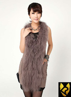 2013 New real Mongolia lamb fur vest wool vest jacket coat big lamb fur collar 13030 shipping free commuter style big lamb fur