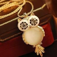 Free Shipping! Fashion 2014 High quality  Rhinestone Cute Gem CZ Diamond Crystal  Big Owl Necklaces&Pendants Sweater Chain A329