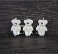 H-3cm cream white  lovely Mini Stuffed Jointed Bear Gift Flower Packing Teddy Bear 100pcs/lot