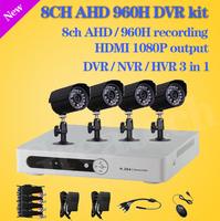 Home CCTV 8CH DVR AHD 960h D1 recording 4PCS IR Outdoor Waterproof CCTV Camera Security System Surveillance Kits+Free shipping