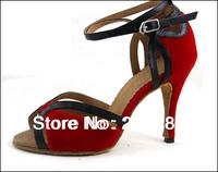 Wholesale Sexy Ladies Red Velvet LATIN Shoes Ballroom Dance Shoes Salsa Tango Shoes Size 4,4.5,5,5.5,6,6.5,7,7.5,8,8.5,9,9.5,10
