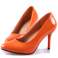 Free shipping women sexy orange coffee black bottom pointed toe high heels wedding bridal pumps shoes