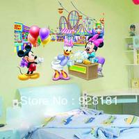 2pcs Free shipping Mickey and Minnie Wall Stickers Animel Cartoon Nursery Baby Room Cool Decoration Wall Sticker