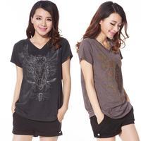 2014 Summer Plus Size Clothing Embroidery V-Neck Short-Sleeve T-Shirt Female Large Size Clothing Free Shipping