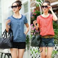 2014 Summer Small Polka Dot Ruffle Collar Short-Sleeve Plus Size Clothing Large Size Shirt Short Blouse For Women Free Shipping