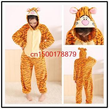 2013Autumn and winter Free Shipping Animal cartoon piece pajamas adult coral velvet pajamas Men and women sleepwear Jump Tiger