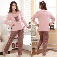 New Women's Cotton Cartoon Bear/Dot Design Long Sleeve Pajamas Sleepwear Sleep Clothes Pajama For Women 11177