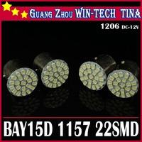Wholesale Free Shipping 20pcs/lot 12V S25 1157 BAY15D 22SMD 1206 Brake light bulbs  white led lamp