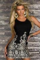 Hot sale Chic Gold Embroidered Lace Tank Dress Black sleeveless pencil slim vintage print dress summer women office dresses 2014