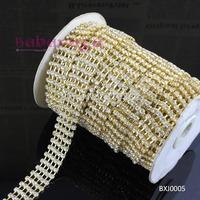 SS16 Gold Multi 5 Row A Grade Rhinestone Rhinestone Chain Ribbon Free Shipping