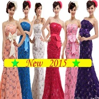 2015 winter Plus size long and short Zipper strapless paillette formal evening dress lace flower long  fish tail party dresses