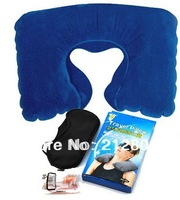 New Candy Travel Flight Pillow Neck U Rest Air Cushion+ Eye Mask + Earbuds  Amenity Kit Comfortable Business Trip Free Shipping