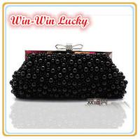 Hot Style Women Pearl Handbag. Hand-beaded Bow Clasp Clutch Bridal Purse. Shoulder Messenger Chain Evening Bag Black Beige White