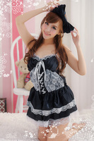 Free Shipping Europe Fashion Women Black Lace Maid Costumes Maidservant Sexy Roll Play Costumes