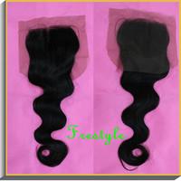 "Free shipping,unprocessed virgin remy brazilian body wave big wavy swiss soft lace top closure 4x4,10""12""14""16""inch"