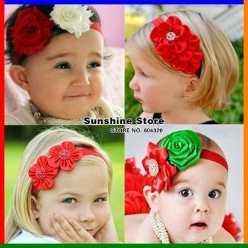 Sunshine store #2B1993 10 pcs/lot (10 styles)baby headband Chiffon Rosette-Shabby flower diamond/rhinestone/pearl Christmas CPAM