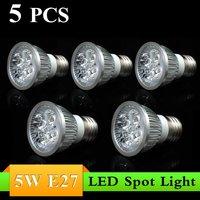 5PCS Excellent 5W E27 AC85~265V white/warm white LED Bulb Light