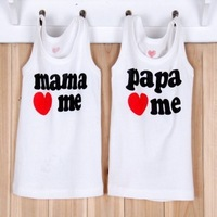 8pcs/lot Baby Clothes papa mama love me baby t shirt cotton T-Shirt boys girls short shirt kids Tees infant vest children gift