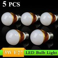 5PCS 3W E27 AC85~265V white/warm white LED Bulb Light Spot Light LED Light Lamp High quality 5years warranty silver shell