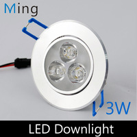 3W LED ceiling recessed mounted downlight, with 3pcs high power LED cutout hole 70-80mm, 4pc/lot  free shipping