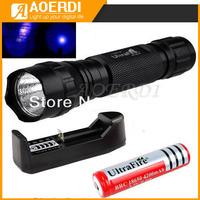 Ultrafire 501B 3W purple light Ultraviolet Luxeon  UV LED Flashlight+18650 Rechargeable Battery +Charger Kit
