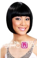 2014   new style fashion H Hair   wig 1b# color  women's wig bobo real 100% H Hair  wigs bangs