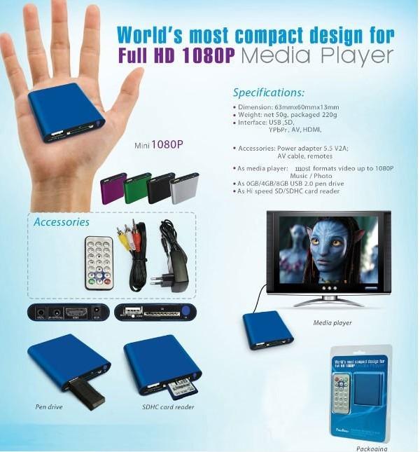 Mini Media Player Mini 1080P HDMI SD/USB HD Media Player MKV/RM/RMVB Wholesale(China (Mainland))