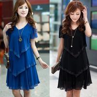 Free Shipping 2013 plus size clothing summer mm one-piece dress slim chiffon one-piece dress short-sleeve female
