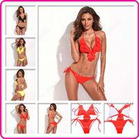 New Full-Lined Ruffle Triangle Ultra-threaded Bikini Set Split Swimwear Swimsuit Bathing Suit S/M/L for Women Free Shipping