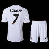 new 2013/14 Top Thailand Quality Real Madrid white home 7 # Ronaldo Soccer Jersey 100% embroidery free shipping Size: S - XL.