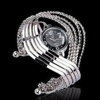 Wholesale Fashion Summer Hot Sell Dress Bangle Watch Women Quartz Wristwatch Silver and Gold Steel Retro Clock