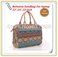 Pop Fashion Bohemia Canvas Ladies Handbag Laptop Bag 13,14,15,15.6 inch Stitching Flowers,Case Notebook, For Macbook, Free Ship