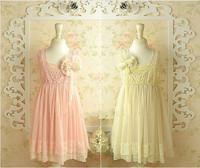 2013 summer New design Korean High grade girls sleeveless lace pearl Hook Subtle sweet dress,fairy 2 colors,5 pcs/lot