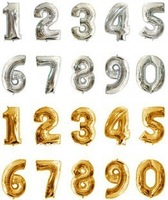 4pcs 16inch Silver/Gold 2014 Digital 0-9  Number Foil Party Balloon Party Wedding Occasion Decor Gold/Silver For Choose