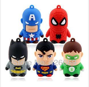 Wholesale Fashion Cute Cartoon Superman 2GB 4GB 8GB 16GB 32GB 64GB USB Flash2.0 Memory Drive Stick Pen/Thumb/Shipping free