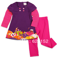 H3589# Kids Clothing Sets Long Sleeve T-shirt+Rose Color Casual Pants Girls Leisure Wear Spring Autumn Clothes Girls Fall Suit