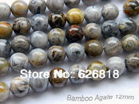 Freeshipping wholesale natural 12mm round bamboo agate brown loose chinese beads