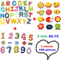 106 pieces Innovation Home Decor Baby educational Alphabet Letter Recognition Wooden Fridge Refrigerator  Magnet sticker