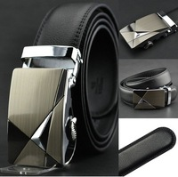 HOT Fashion belt MEN'S Genuine Leather Waist Strap Belts Automatic Buckle Black free shipping