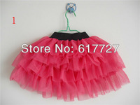 Children skirts Girls solid color chiffon 3 layers tiered petti lace draped skirts H038